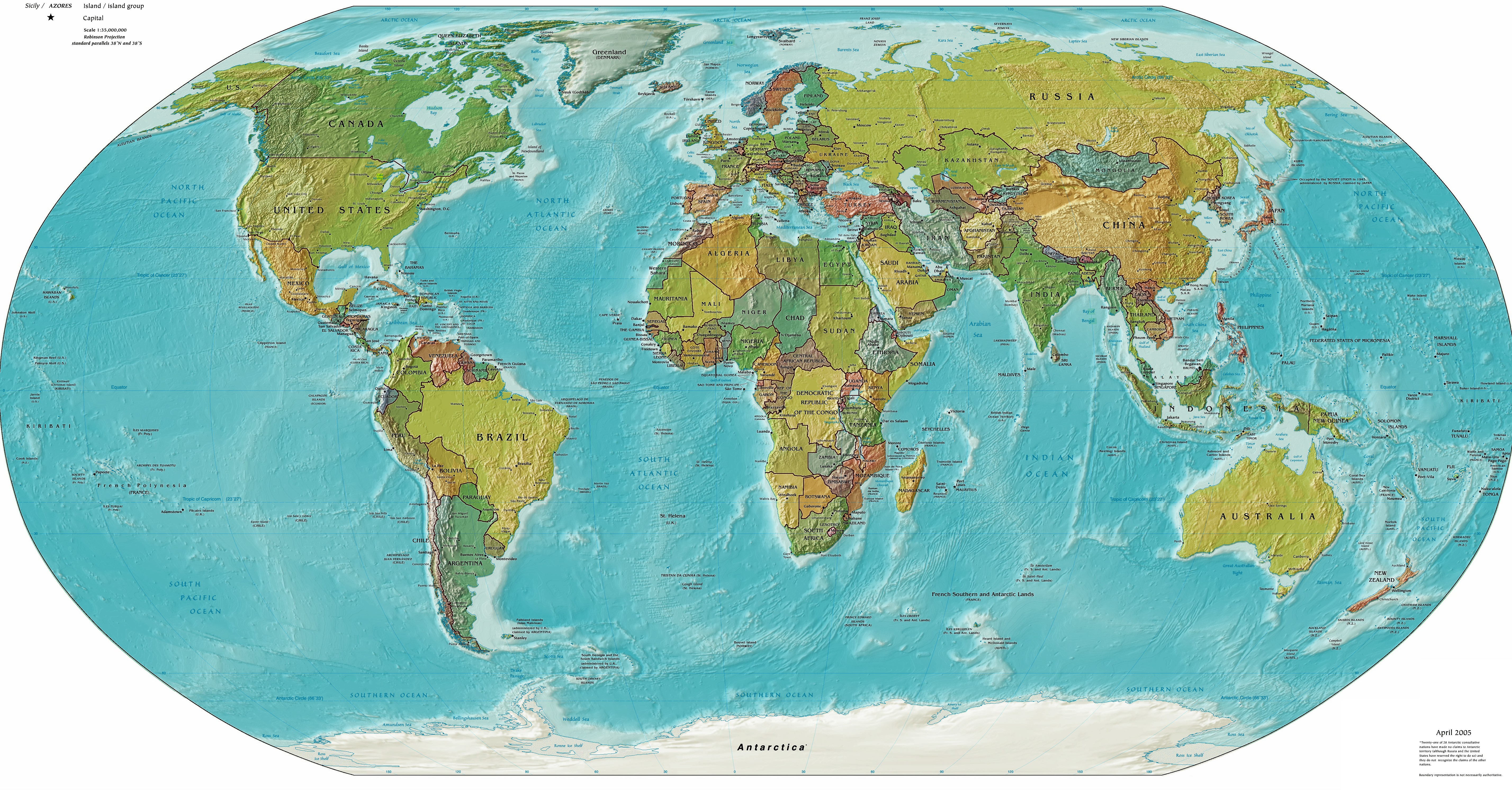 Worldmap landandpolitical